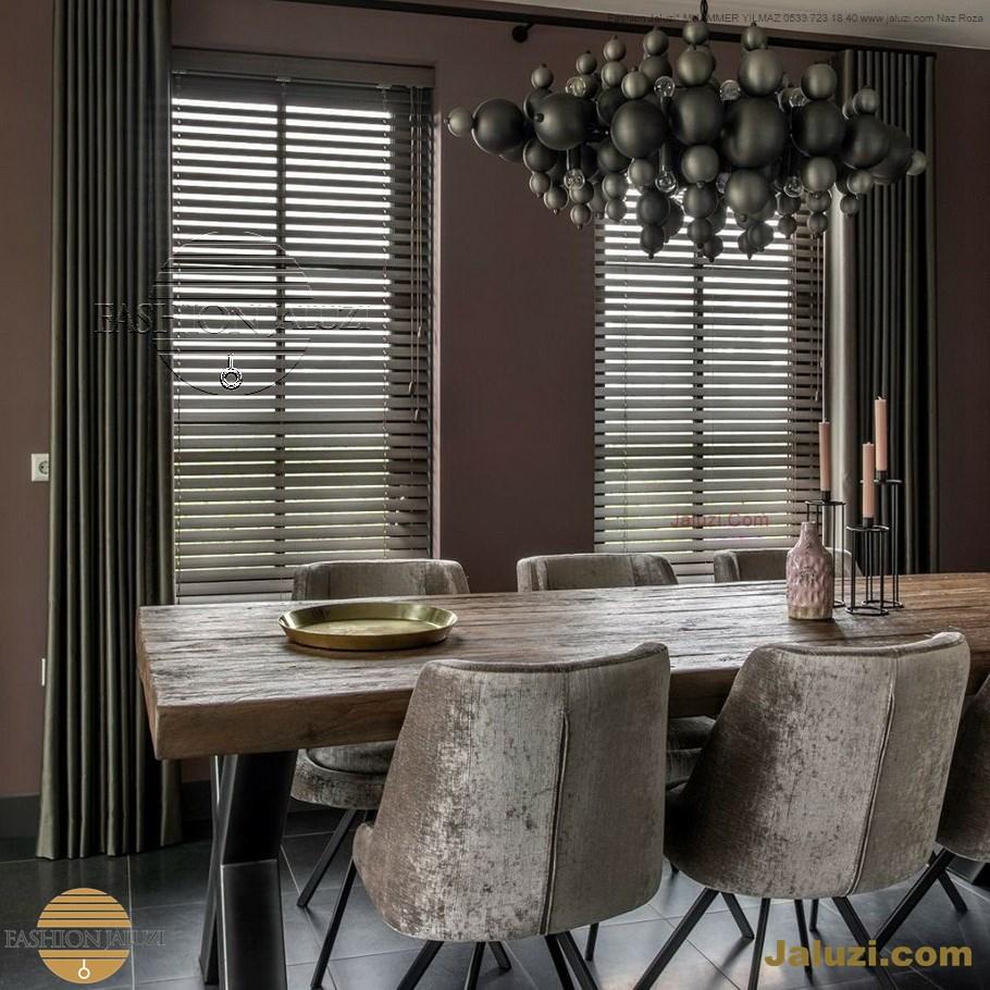 perde ahşap jaluzi perde fon perde panel perde klasik modern tarz kanat perde dekorasyonu wood blinds with valances drapery_16